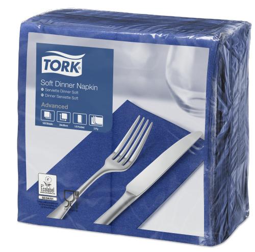 Tork Soft Dark Blue Dinner Napkin 1/8 Folded