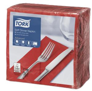Tork Soft punainen Dinner-lautasliina 1/8-taitto