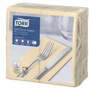 Tork Soft Sand Dinner Napkin 1/8 Folded