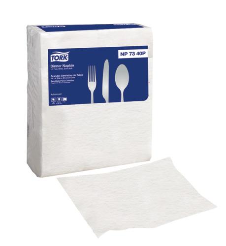 Tork Advanced Extra Soft White Dinner Napkin, 1/4 Fold