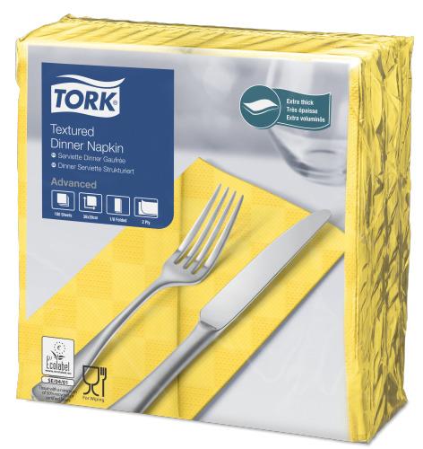 Tork Textured Dinnerservietten Gelb 1/8 Falz