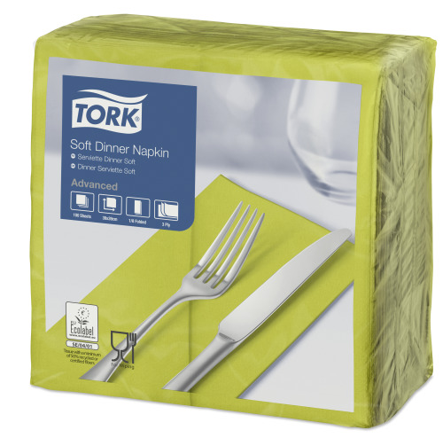 Tork Soft Lime Dinner Napkin 1/8 Folded