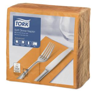 Tork Soft Orangefarbene Dinnerserviette 1/8-Falz