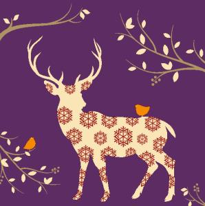 Tork Premium Textile Feel Dinerservet Autumn Deer Paars