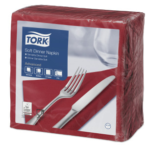 Tork Soft  Dinnerservietten Bordeauxrot