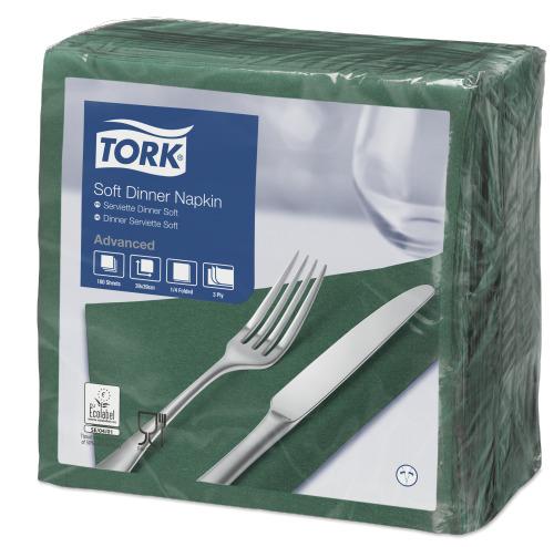 Tork Soft Mørkegrøn Middagsserviet