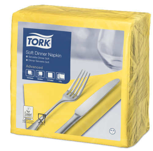 Tork Soft Yellow Dinner Napkin
