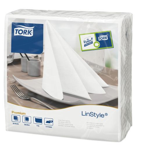 Tork®   Linstyle White Quaterfold Dinner Napkin