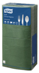 Tork®  Soft Moss Green Edge Emboss Quaterfold Dinner Napkin 3 Ply