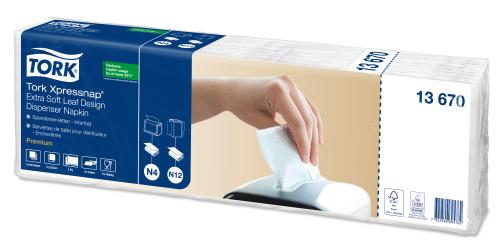 Tork Tovagliolo Extra Soft bianco con motivo a foglie per dispenser Xpressnap®