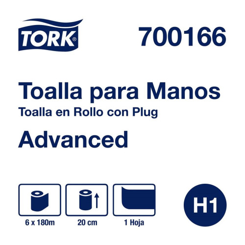 Tork Toalla en Rollo Advanced Blanca Hoja Sencilla 6 pz / 180 mts