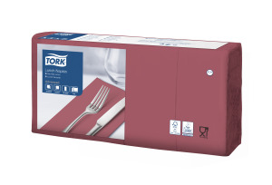 Tork Soft Bordeaux Red Lunch Napkin 1/8 Folded