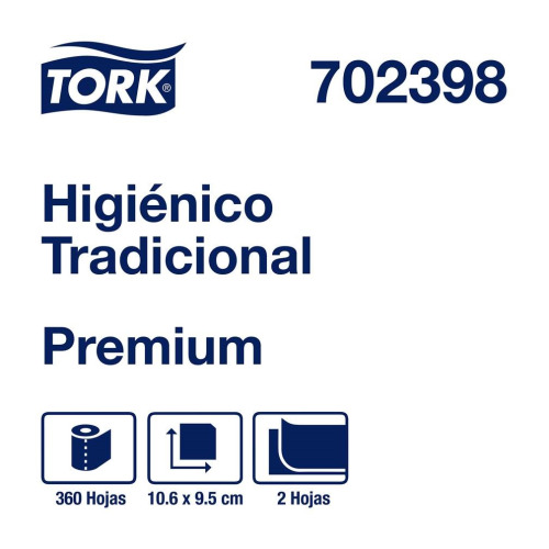 Tork Papel Higiénico Tradicional Premium Hoja Doble 24 pz / 360 hjs