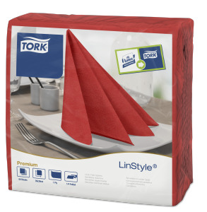 Tork LinStyle® piros Dinner szalvéta