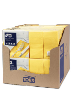 Tork Soft Yellow Lunch Napkin 1/8 Folded
