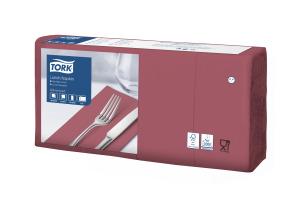 Tork Lunchservietten Bordeauxrot 1/8-Falz