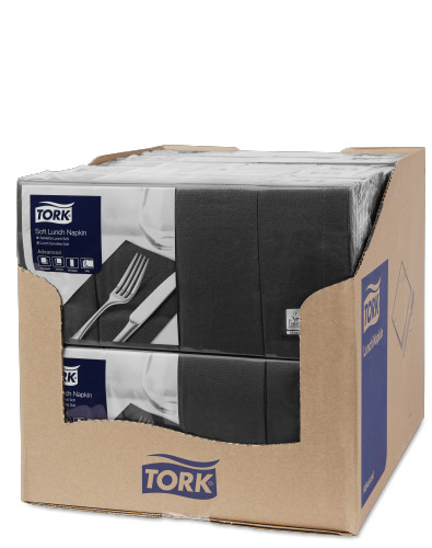 Tork Soft Black Lunch Napkin 1/8 Folded