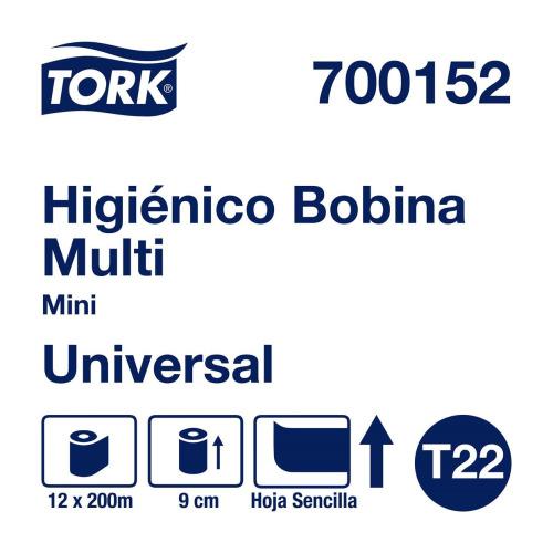 Tork Papel Higiénico en Bobina Universal Hoja Sencilla 12 pz / 200 mts