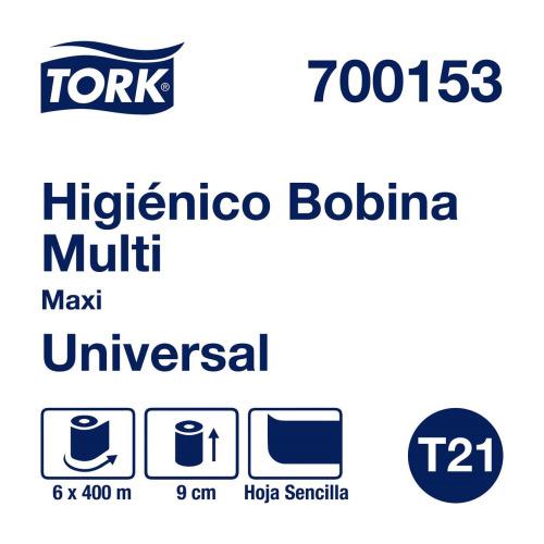 Tork Papel Higiénico en Bobina Universal Hoja Sencilla 6 pz / 400 mts