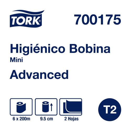 Tork Papel Higiénico en Bobina Advanced Hoja Doble 6 pz / 200 mts